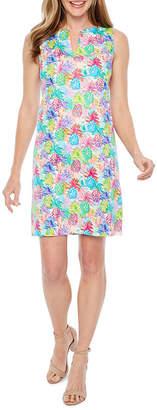Chetta B BE BY Be by Sleeveless Abstract Pineapple Print Sheath Dress