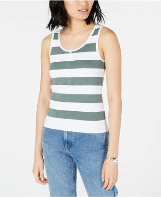 Maison Jules Ribbed Button-Front Tank Top