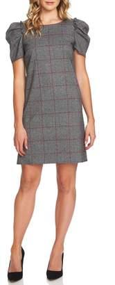 CeCe Puffed Sleeve Plaid Shift Dress