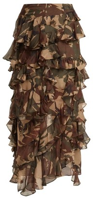 Preen by Thornton Bregazzi Melena Camouflage Print Ruffle Skirt - Womens - Multi