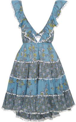 Zimmermann - Caravan Ruffled Floral-print Cotton Mini Dress - Light blue $530 thestylecure.com