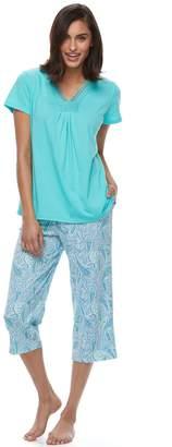 Croft & Barrow Women's Pajamas: Island Getaway Lace Tee & Capris PJ Set
