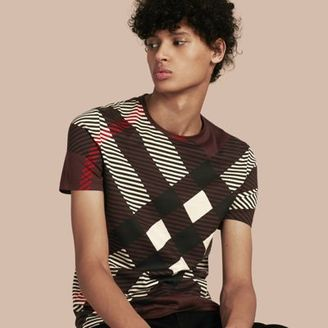 Burberry Abstract Check Cotton T-shirt $350 thestylecure.com
