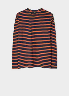 Paul Smith Men's Navy And Orange Stripe Cotton Long-Sleeve T-Shirt