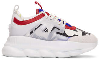 Versace White Multicolor Chain Reaction Sneakers