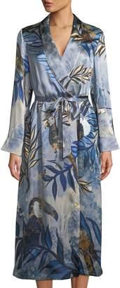 Neiman Marcus Morpho + Luna Bianca Bird-Print Silk Robe