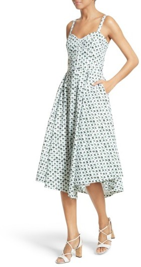 Women's Milly Bambino Palm Print Midi Dress 4