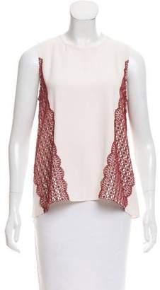 Tanya Taylor Guipure Lace-Accented Sleeveless Top w/ Tags