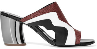 Proenza Schouler - Cutout Matte, Patent And Textured-leather Mules - Black $595 thestylecure.com
