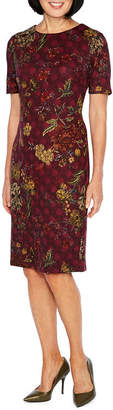 Liz Claiborne Short Sleeve Floral Sheath Dress