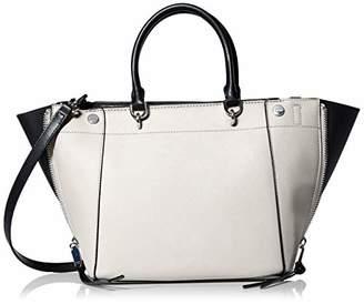 Calvin Klein Doris Saffiano Leather Trapeze Top Zip Satchel