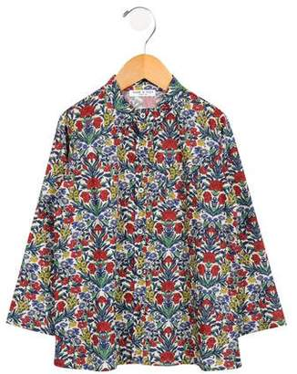 Babe & Tess Girls' Floral Print Button-Up Tp