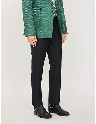 Haider Ackermann Embroidered-side straight fleece wool trousers