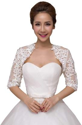 b48ca0c243a Dressyu Women s Bridal Bolero Tulle Lace Shrug Shawl Wedding Jacket for  Bride
