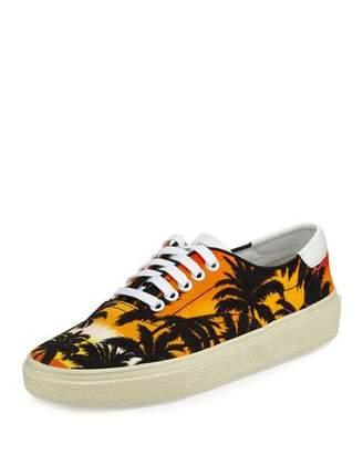 Saint Laurent Palm-Tree Low-Top Sneaker, Black/Multi $495 thestylecure.com