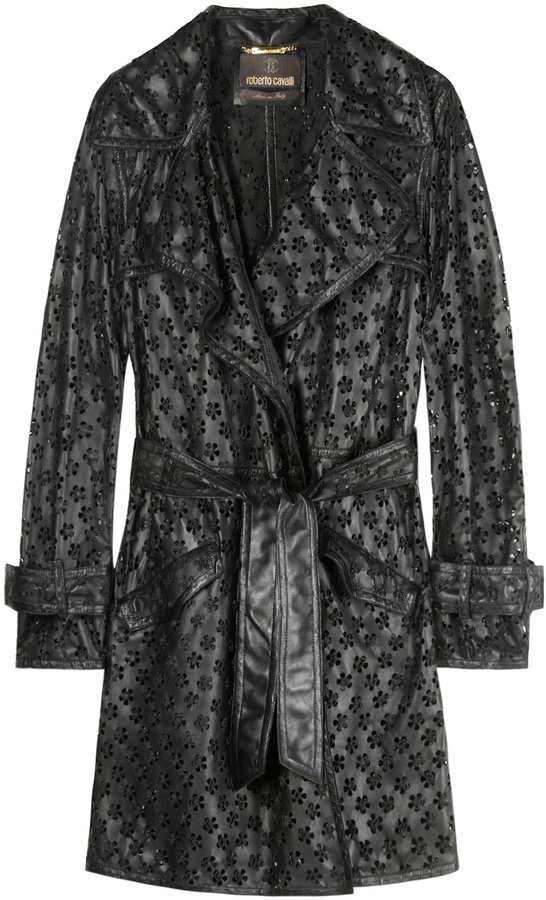 Roberto Cavalli Perforated Floral Leather Trench