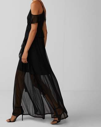 Express Ruffle Cold Shoulder Maxi Dress