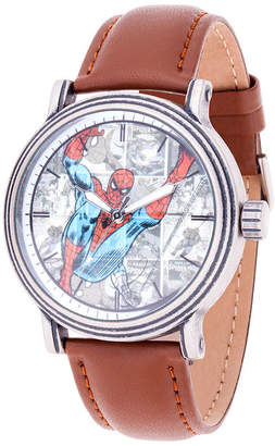 Marvel Spiderman Mens Brown Leather Strap Watch-Wma000366
