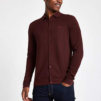 River Island Dark red slim fit cable long sleeve shirt