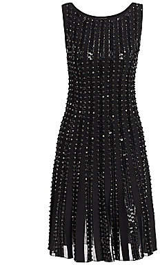 Zac Posen Women's Embroidered Radiant Stripe Knit A-Line Dress