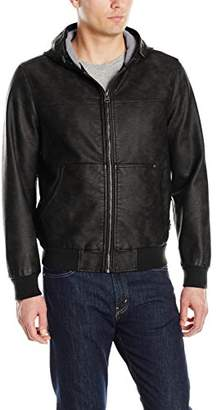 Levi's Men's Buffed Cow Faux Leather Hooded Bomber Jacket