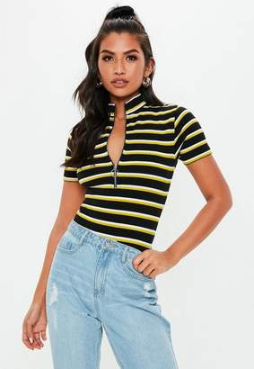 Missguided Black Stripe High Neck Zip Up Bodysuit