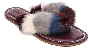 Bernardo FOOTWEAR Mara Genuine Rabbit Fur Flip Flop