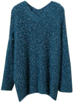 Goodnight Macaroon 'Elsa' Metallic Tread Longline V-Neck Sweater (5 Colors)