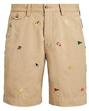 Polo Ralph Lauren Men's Embroidered Patch Stretch Twill Flat Shorts