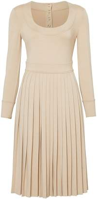 Burberry long sleeve pleated dress