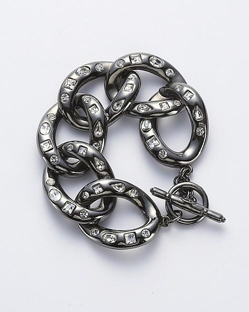 Kenneth Jay Lane Gunmental/Crystal Chain Link Bracelet