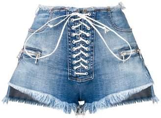 ddb9c0d4f5 Unravel Project lace-up denim shorts