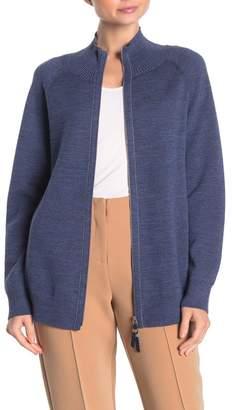 Lafayette 148 New York Zip Front Plaited Wool Blend Cardigan
