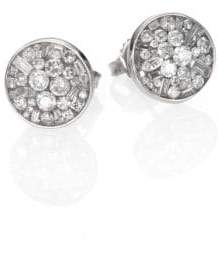 Ice Diamond Pleve Ice Diamond& 18K White Gold Button Earrings