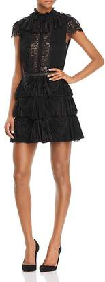 Alice + Olivia Rosetta Pleated Tiered Dress