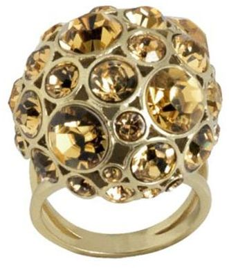 Fossil crystal ball cocktail ring
