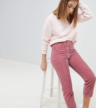 Asos DESIGN Petite high waist authentic straight leg jeans with back zip through rise detail in pink cord