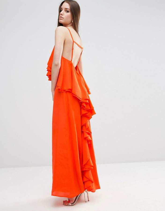 Asos ruffle waterfall soft maxi dress women for Waterfall design dress