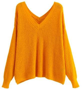 Goodnight Macaroon 'Cady' Slouchy Knitted V-Neck Sweater (3 Colors)