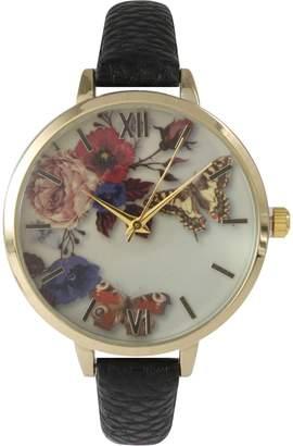 Olivia Pratt Flowers & Butterflies Leather Strap Watch