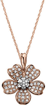Lord & Taylor 14Kt. Rose Gold and Diamond Flower Pendant Necklace $1,650 thestylecure.com