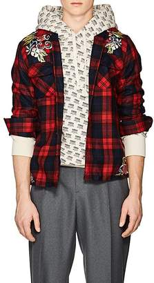 Gucci Men's Embroidered Plaid Wool Shirt
