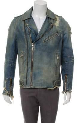 Balmain Distressed Denim Moto Jacket w/ Tags blue Distressed Denim Moto Jacket w/ Tags