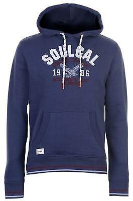 Soul Cal SoulCal Mens USA Hoodie OTH Hoody Hooded Top Kangaroo Pocket Drawstring