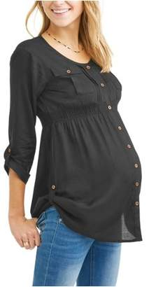 Oh! Mamma Maternity Button Up Shirred Roll Tab Sleeve Tunic - Available in Plus Sizes