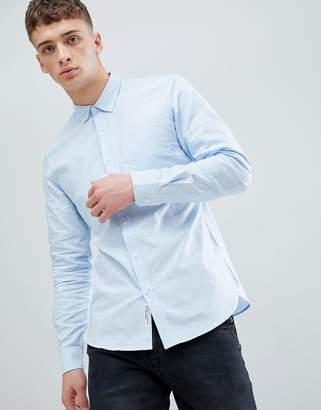 Pull&Bear Regular Fit Oxford Shirt In Light Blue