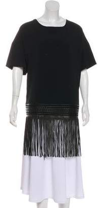 Sally LaPointe Fringe-Accented Short Sleeve Tunic