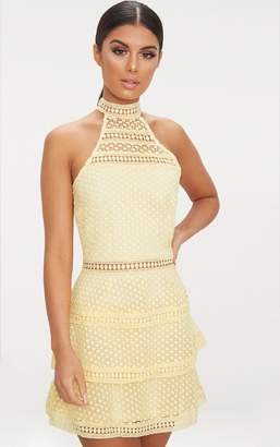 PrettyLittleThing Lemon Lace Panel Tiered Bodycon Dress