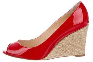 Christian Louboutin Puglia 85 Peep-Toe Wedges w/ Tags