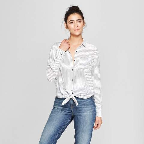 Universal Thread Women's Stripe Long Sleeve Tie Front Shirt - Universal Thread Blue
